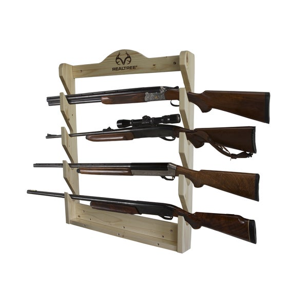 Rush Creek RealTree Off-white Wooden 4-Gun Wall Rack