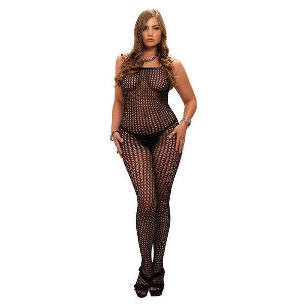 fee0cb36c3 Shop Leg Avenue Seamless Crochet Net Spaghetti Strap Plus-size Bodystocking  - Free Shipping On Orders Over  45 - Overstock - 13935914
