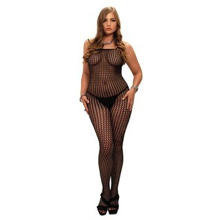 Leg Avenue Seamless Crochet Net Spaghetti Strap Plus-size Bodystocking