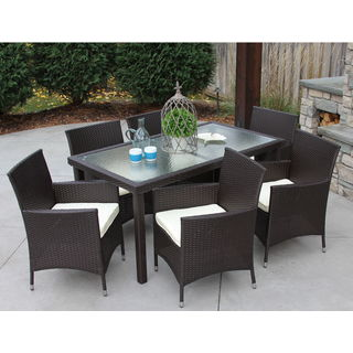 All-Weather Wicker/ Glass Outdoor Dining Table and 6 Cushioned Chairs
