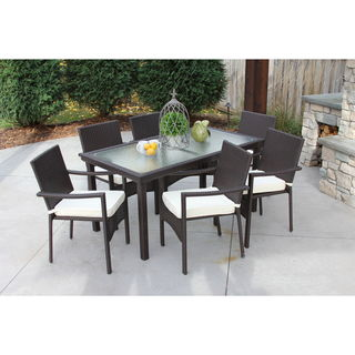 Baker All-Weather Wicker/ Glass Outdoor Dining Table and 6 Cushioned Chairs