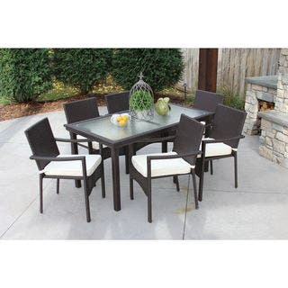 Baker All-Weather Wicker/ Glass Outdoor Dining Table and 6 Cushioned Chairs|https://ak1.ostkcdn.com/images/products/13935924/P20567355.jpg?impolicy=medium