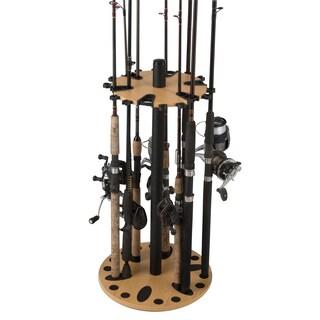 Rush Creek Wood 24-round Spinning Rod Rack