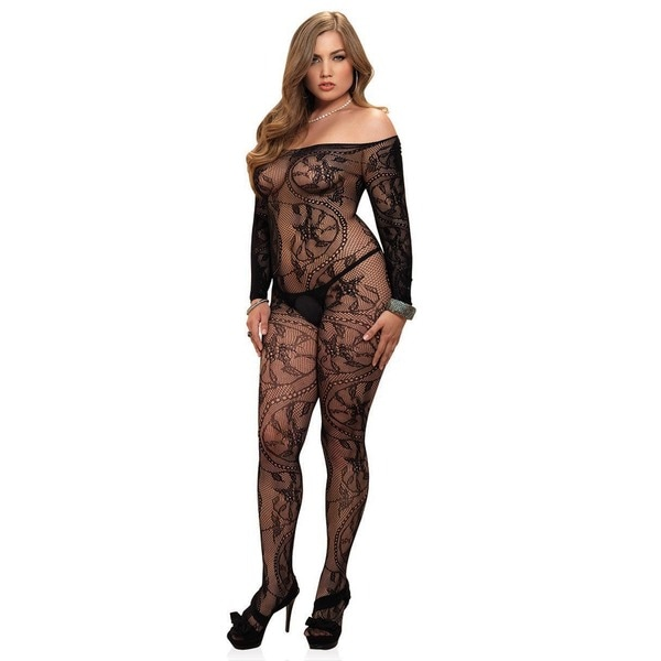 bc904231a6 Shop Leg Avenue Spiral Lace Off-the-shoulder Long Sleeve Plus-size  Bodystocking - Free Shipping On Orders Over  45 - Overstock - 13935959