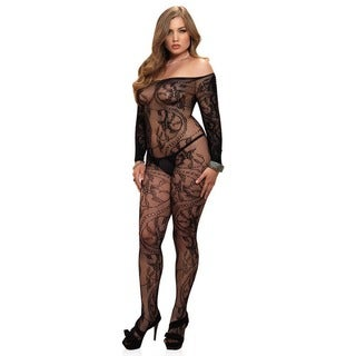 Leg Avenue Spiral Lace Off-the-shoulder Long Sleeve Plus-size Bodystocking