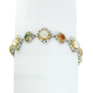 One-of-a-kind Michael Valitutti Palladium Silver Ethiopian Opal & Multi Sapphire Tennis Bracelet