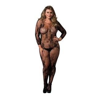 Leg Avenue Women's Plus Size Black Lace Floral Seamless Long-sleeve Bodystocking Lingerie