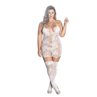 Leg Avenue Women's Plus Size White Lace Cage Strap Suspender Bodystocking Lingerie