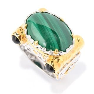Michael Valitutti Palladium Silver Malachite & Black Onyx East-West Ring