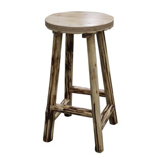 Merveilleux Rush Creek Brown Pine Fixed Bar Stool