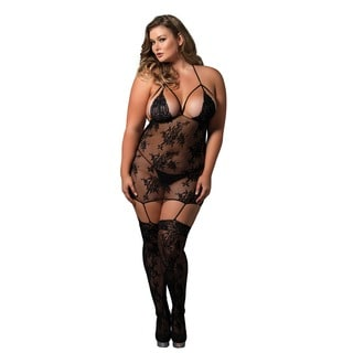 Leg Avenue Women's Plus Size Black Lace Cage Strap Suspender Bodystocking Lingerie