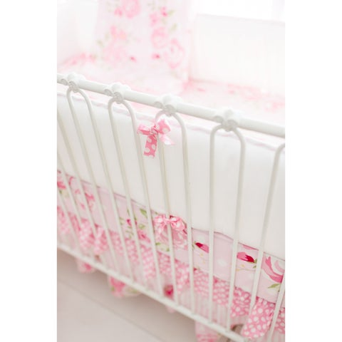 My Baby Sam Girls Rosebud Lane Multicolor Cotton Crib Bumper