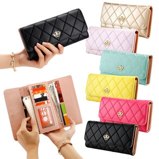 Buy womens wallets online at overstock our best wallets deals gearonic fashion lady check plaid faux leather women wallet reheart Images