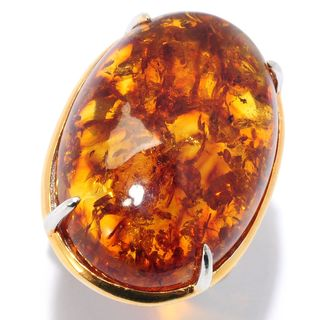 Michael Valitutti Palladium Silver Baltic Amber Cocktail Ring