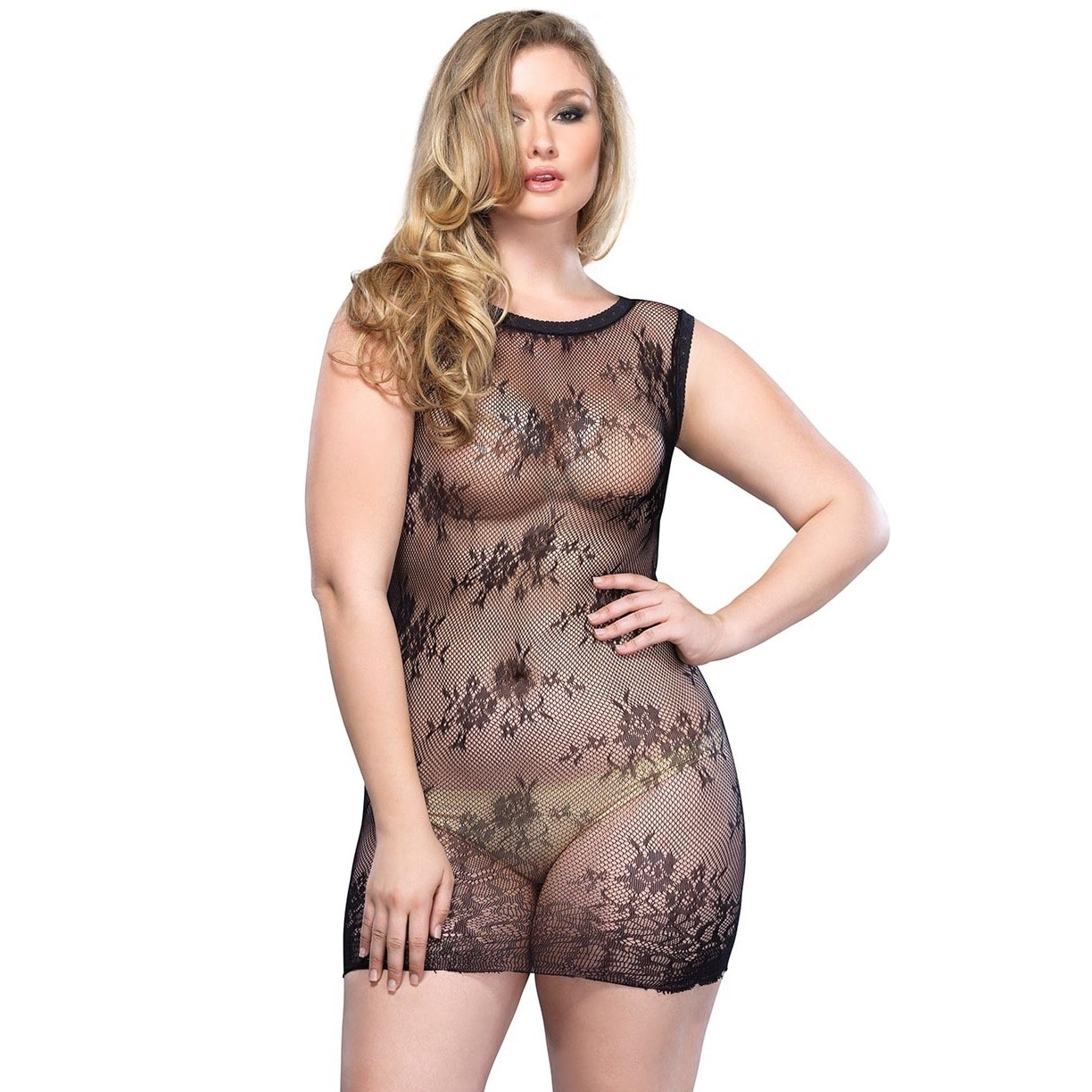 Leg Avenue Black Nylon/Spandex Lace Foral Plus-size Mini ...