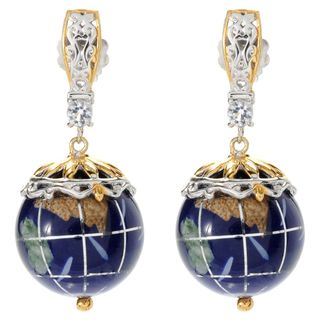 Michael Valitutti Palladium Silver Lapis, White Topaz & Gemstone Globe Drop Earrings