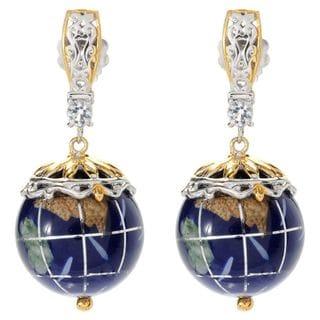 Michael Valitutti Palladium Silver Lapis, White Topaz & Gemstone Globe Drop Earrings