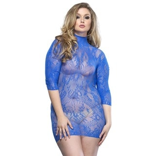 Leg Avenue Women's Blue Floral Lace Plus Size High Neck Mini Dress with Three-Quarter Sleeve
