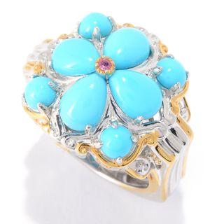 Michael Valitutti Palladium Silver Sleeping Beauty Turquoise & Pink Tourmaline Flower Ring