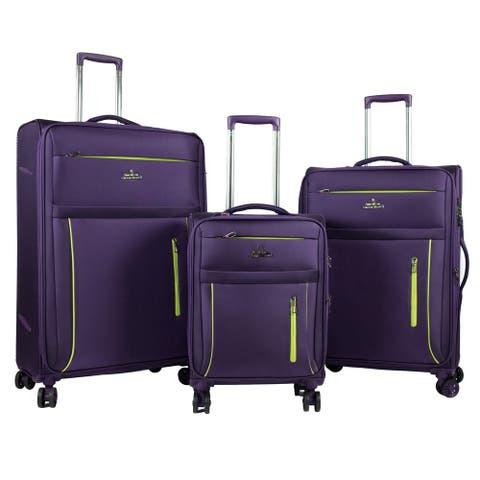 AGT 3-Piece Softside Anti-theft TSA Lock Spinner Suitcase