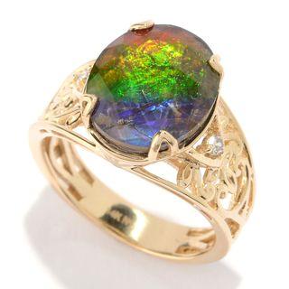 Michael Valitutti 14K Gold Ammolite Triplet & Diamond Ring