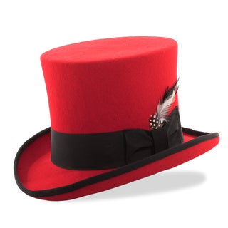 Ferrecci Red/Black Premium Wool Mad Hatter Steampunk Top Hat