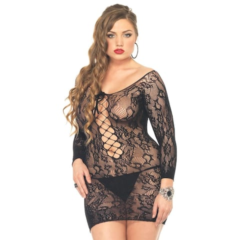 Leg Avenue Women's Black Floral Lace Plus Size Long-sleeved Mini Dress with Lace Up Net