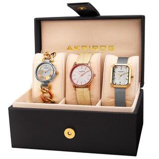 Akribos XXIV Women's Quartz Two-Tone Diamond Crystal Triple Watch Set with FREE GIFT