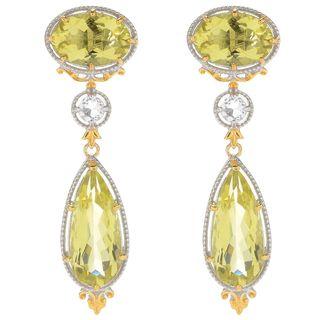 Michael Valitutti Palladium Silver Ouro Verde & White Quartz Dangle Earrings
