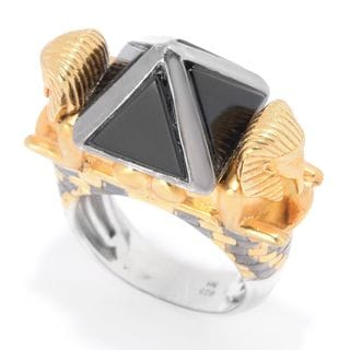 "Michael Valitutti Palladium Silver Cleopatra ""Pyramid of Khafre & The Great Sphinx"" Onyx Ring"