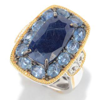 Michael Valitutti Palladium Silver Opaque Sapphire & Sapphire Halo Ring