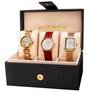 Akribos XXIV Women's Quartz Gold-Tone Diamond Crystal Triple Watch Set with FREE GIFT