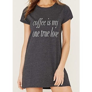 Rag 'Coffee Is My One True Love' Grey Soft Cozy Sleep Shirt