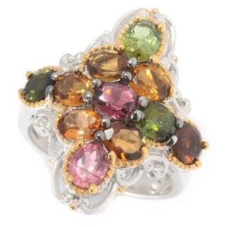 Michael Valitutti Palladium Silver Multi Tourmaline Diamond Shaped Cluster Ring