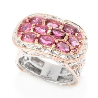 Michael Valitutti Palladium Silver Pink Tourmaline East-West Floral Ring