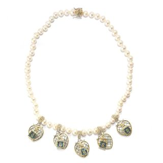 Michael Valitutti Palladium Silver Love Locks Mother Of Pearl Necklace with Magnetic clasp