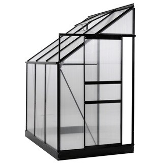 Ogrow Aluminium Lean-To Greenhouse - 25 Sq. Ft. - With Sliding Door And Roof Vent- 6X4X7ft - Black