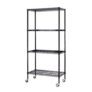 Excel NSF Multi-Purpose 4-Tier Wire Shelving Unit with Casters, 36 in. x 18 in. x 77 in., Black