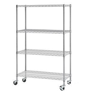 Excel NSF Multi-Purpose 4-Tier Wire Shelving Unit with Casters, 36 in. x 14 in. x 59 in., Chrome