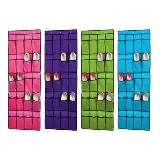Sunbeam Fabric 10-pair/20-pocket Shoe Rack Organizer in Assorted Colors