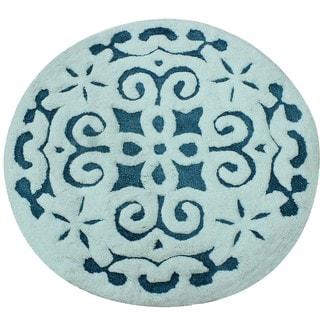 Saffron Fabs Cotton 36-inch Round 200 GSF Damask Pattern Bath Rug