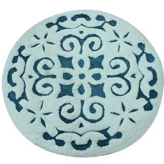 Saffron Fabs Soft Cotton, Non-Skid, Damask Pattern, 200 GSF 36-inch Round Bath Rug