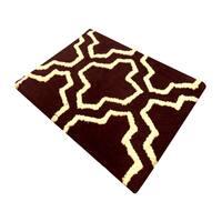 Saffron Fabs 2-piece Geometric Chocolate/ Ivory Cotton Bath Rug Set