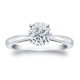 Auriya GIA Certified 14k White Gold 4-Prong 3 ct. TDW Round-Cut Diamond Solitaire E
