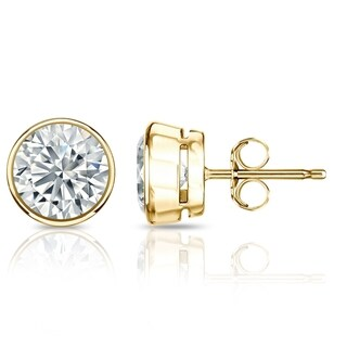 Auriya GIA Certified Round Diamond Stud Earrings in 18k Yellow Gold Bezel Setting 4 ct. TDW (G-H, VVS1-VVS2) Push Back