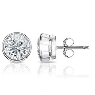 Platinum 1 1/2ct TDW GIA Certified Round Bezel Set Diamond Stud Earrings by Auriya