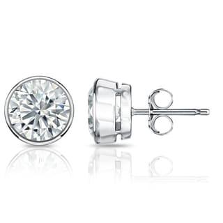 Auriya GIA Certified Platinum Bezel Setting 2.00 ct. TDW (G-H, I1-I2) Push Back Round Diamond Stud Earrings