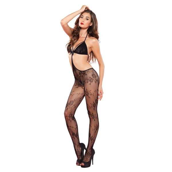 04be22e76 Leg Avenue Women  x27 s Black Floral Lace Strappy Cut Out Bodystocking