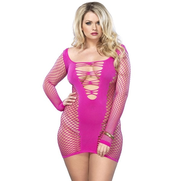 fca02002b5 Shop Leg Avenue Seamless Industrial Net Plus Size Mini Dress w  Opaque  Center Panel - Free Shipping On Orders Over  45 - Overstock - 13937326