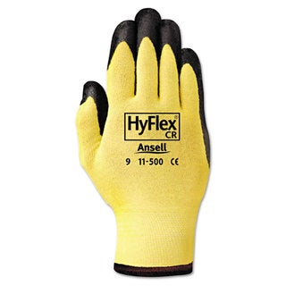 AnsellPro HyFlex Ultra Lightweight Assembly Gloves Black/Yellow Size 10 12 Pairs
